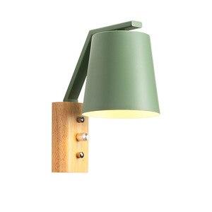 Image 5 - Nordic kreatywny przy łóżku lampa z przełącznikiem osobowości drewna + kutego żelaza kinkiet sypialnia badania Macaron E27 żarówka LED kinkiety