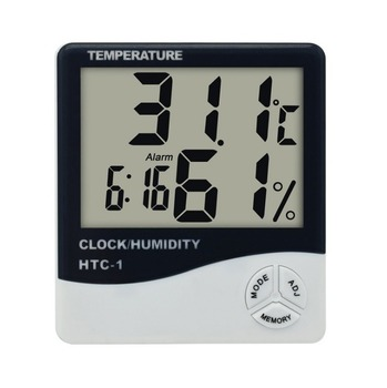 HTC-1 Indoor Room LCD Digital Electronic Thermometer Hygrometer Measuring Temperature Humidity Meter Alarm Clock Weather Station weather station touch screen wireless indoor thermometer hygrometer digital alarm clock barometer forecast meter digital alarm