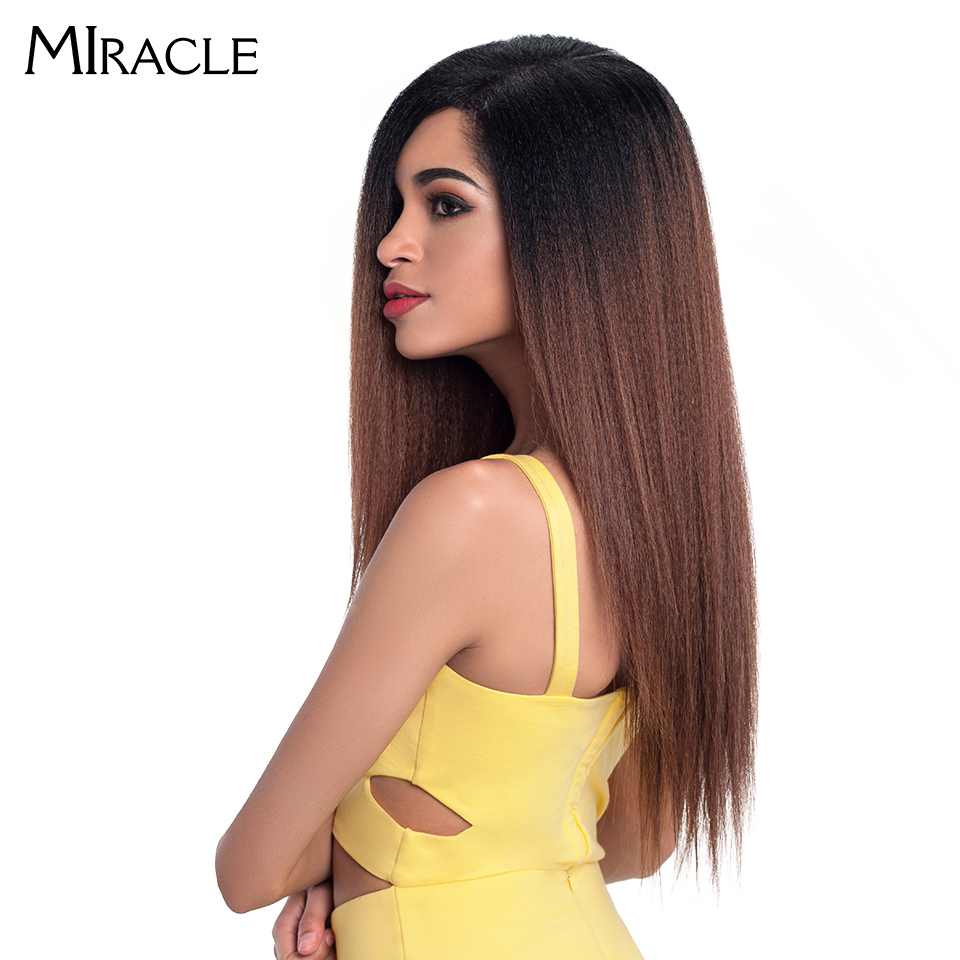 """Miracle Hair Ombre 26""""Inch Long Straight Synthetic Hair Lace Front Wigs For Black Women Yaki Lace Wigs With Baby Hair Free Part-in Synthetic Lace Wigs from Hair Extensions & Wigs"""