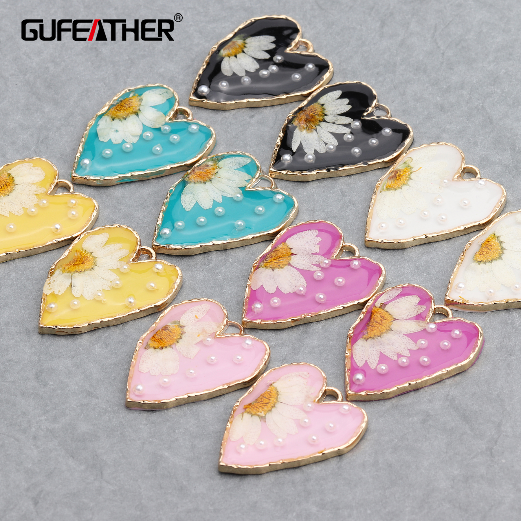 GUFEATHER M654,jewelry Accessories,diy Pendants,hand Made,resin Dried Flower,copper Metal,jewelry Making,diy Earrings,10pcs/lot