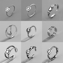 ANENJERY Vintage Smiling Face Thai Silver Color Ring For Women Ring Minimalist Accessories Gift Jewlery