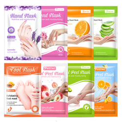 4Pack Whitening Hand Mask Anti Dry Skin Moisturizing Hand Spa Gloves+4Pack Exfoliating Foot Mask Remove Dead Skin Foot Patches