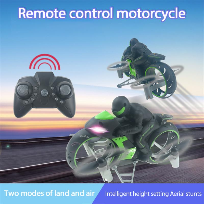 2.4G 2 In 1 Land Air Fly Motorcycle Headless Mode Remote Control Four-axis Drone Racing Stunt Motorcycle Toys For Children Gift