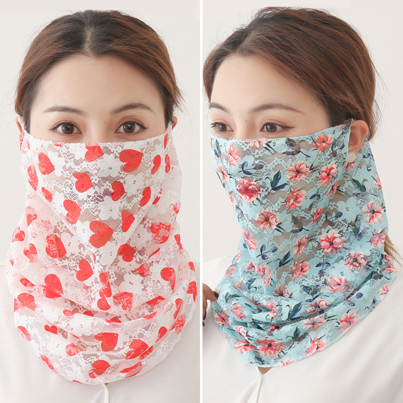 2020 Summer Face Scarf Silk Face Cover Fashion Bandana Mouth Sunscreen Lady Neck Wraps Floral Print Thin Scarves New