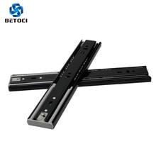 цена BETOCI Metal Black buffer mute drawer slide track soft close drawer guide rail Three-Section Cabinet Slides Furniture Hardware онлайн в 2017 году