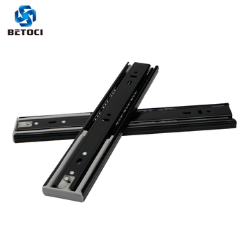 BETOCI Metal Black buffer mute drawer slide track soft close drawer guide rail Three-Section Cabinet Slides Furniture Hardware g mute three drawer track rails 12 inches 30c 0 8 $ inch