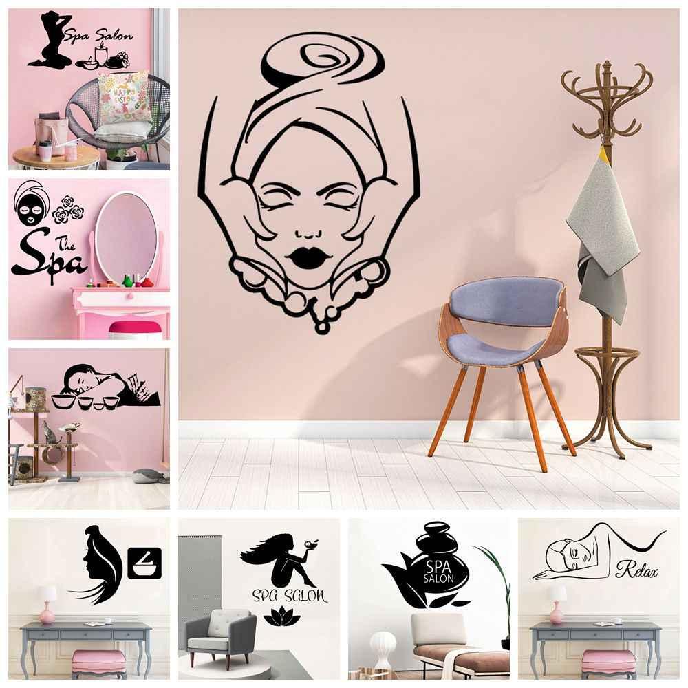 Massage Spa Beauty Salon Girls Make Up Nails Wall Art Stickers Decal Vinyl Room Medium,Black