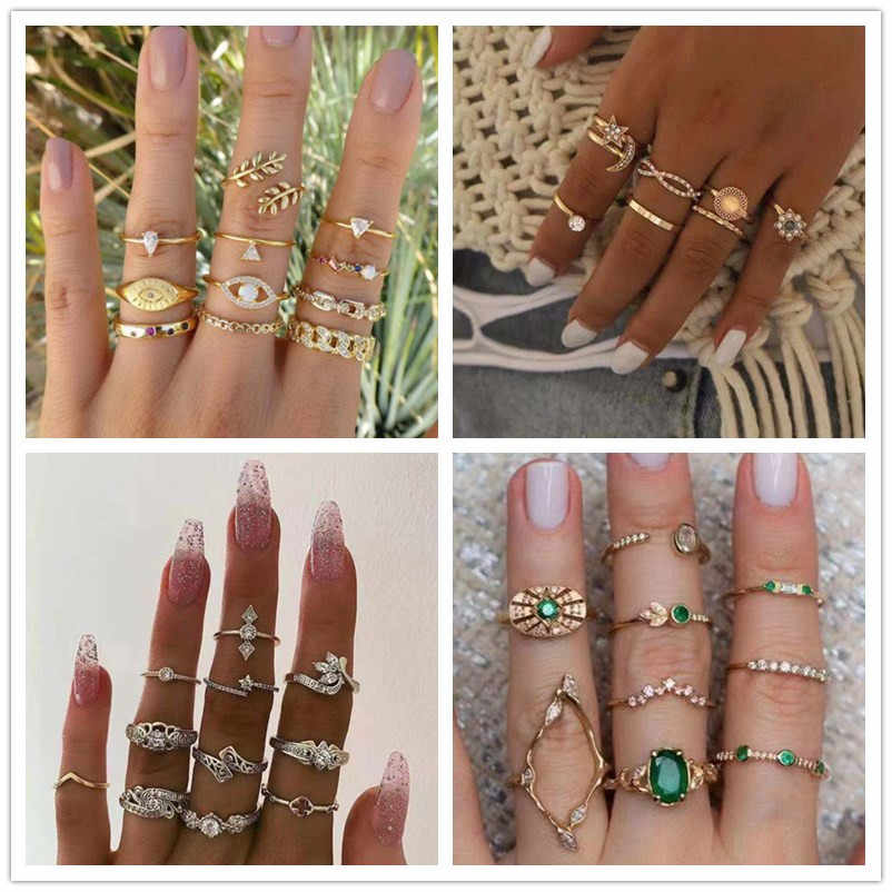 Vintage Gold Star Moon Rings Set for Women BOHO Charm Knuckle Finger Ring Female Crown Party Fashion Jewelry Wedding Ring Set