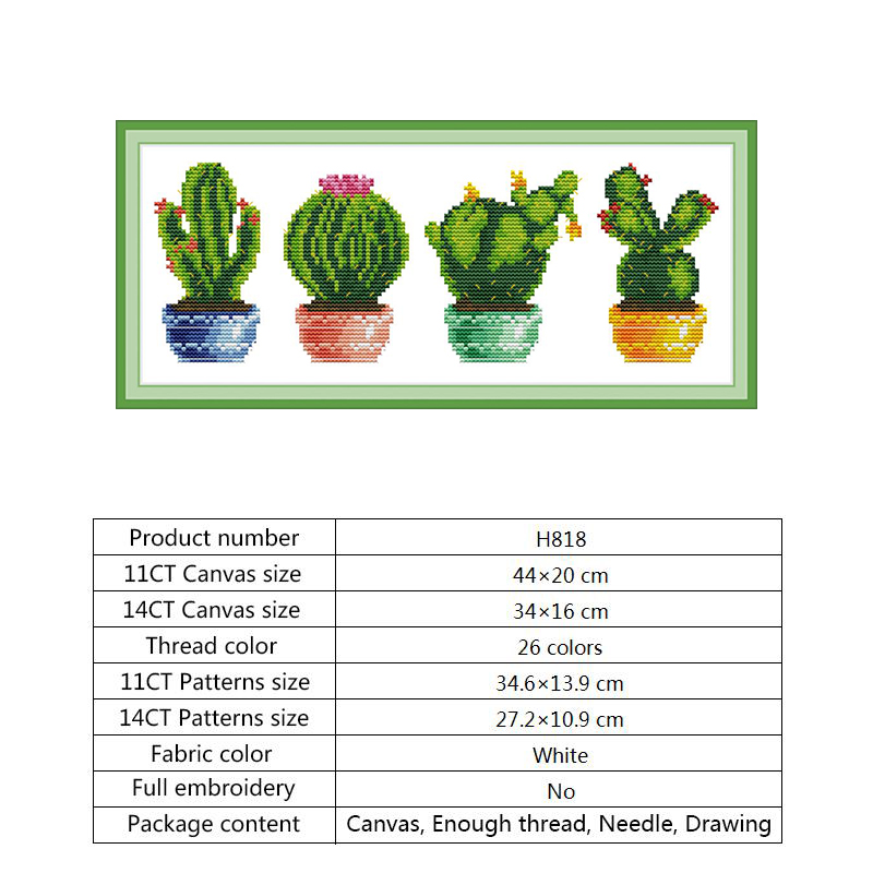 Chinese Counted Cross Stitch Flowers Cactus Patterns 14ct 11ct Ptinted on Canvas Embroidery Cross Stitch Kit Easy DIY Needlework (1)