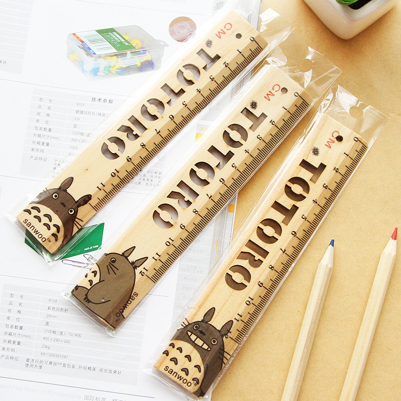 P273 Creative Totoro Hollow Out Logs Ruler Mapping Measuring Ruler Cute Bookmark Ruler 12cm Scale Wooden Ruler