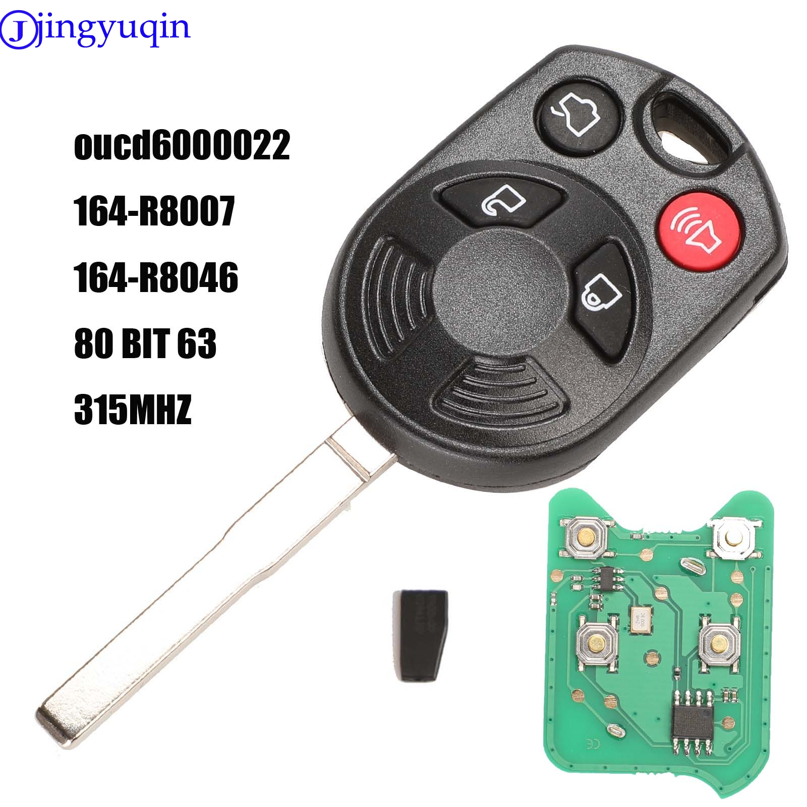 Complete Remote Car Key Fob 4 Button ID63 Chip 80 Bit For Ford Edge Escape Focus Lincoln Mazda Mercury OUCD6000022 315Mhz|Car Key| |  - title=