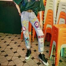 بنطلون جينز للسيدات مطبوع عليه رسوم كرتونية من ELFSACK ، بنطال جينز نسائي للخريف 2019 بتصميم مستقيم متوسط الخصر
