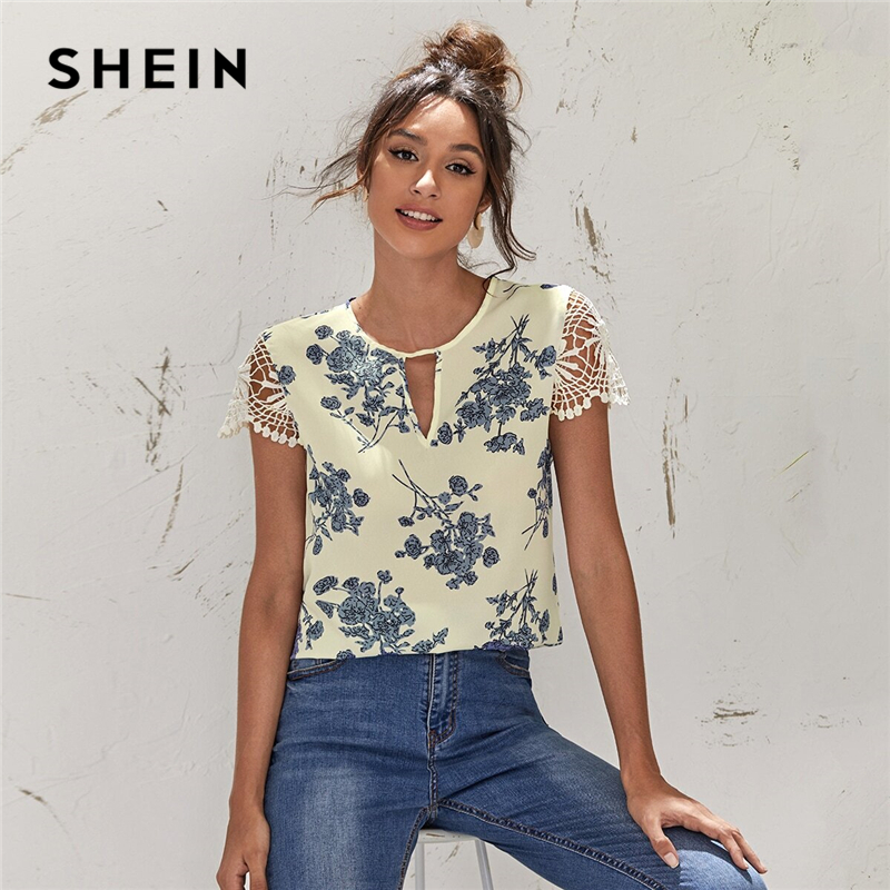 SHEIN Beige Keyhole Neck Guipure Lace Sleeve Floral Top Women Summer Cut Out Sleeve Casual Womens Tops and Blouses|Blouses & Shirts| - AliExpress