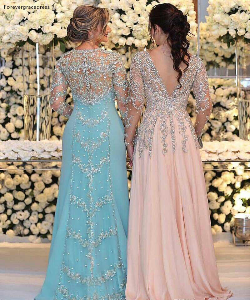 Luxurious Beaded Sequins Appliques Plus Size Mermaid Mother Dresses Sheer Long Sleeves Jewel Neck Formal Evening Prom Gowns Celebrity Dress  159 (1)