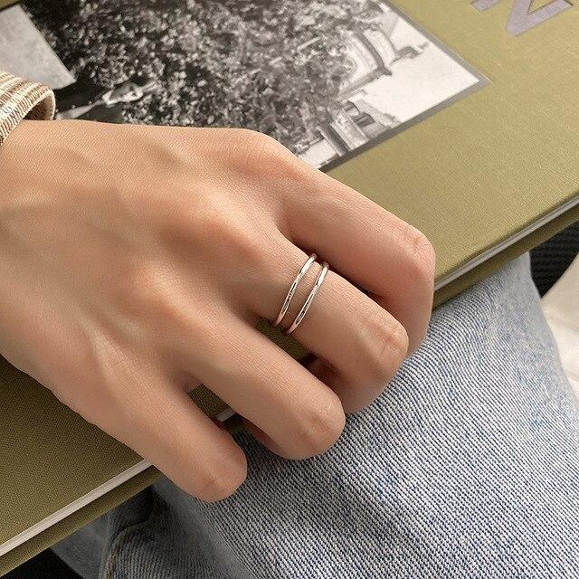 Купить женское открытое кольцо в корейском стиле серебряное двухслойное картинки цена