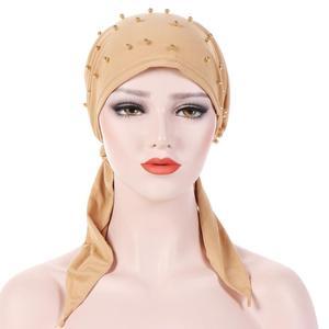 Image 4 - מוסלמי נשים בנדנה חיג אב כובע סרטן כימותרפיה כובע שיער אובדן ראש צעיף טורבן לעטוף Islmaic Headwear חרוזים למתוח הערבי Underscarf