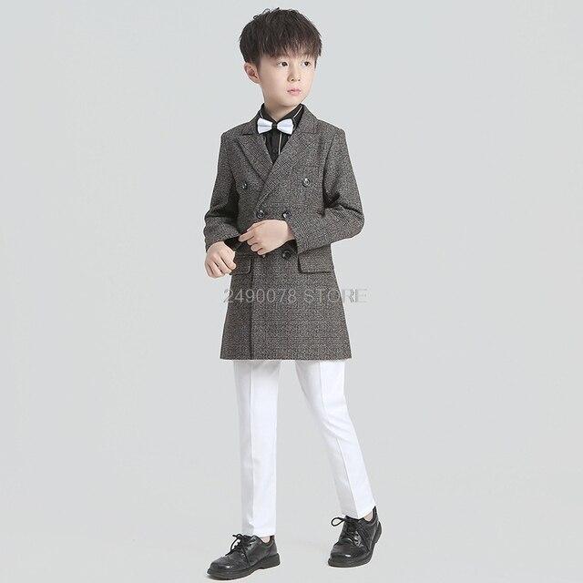 Veste de mariage pour fleur garçons enfants fête danniversaire formelle Blazer veste robe smoking enfants Piano cérémonie Costume
