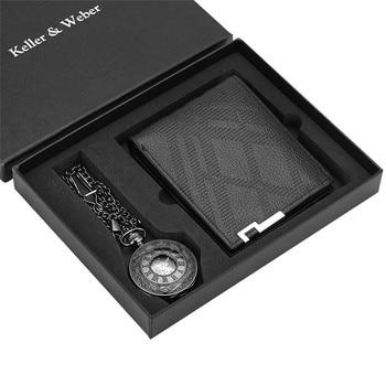 Vintage Manual Mechanical Pocket Watches Wallet Set Men Women Hand Winding Pendant Clock Fob Chain Punk Pocket Clock Gift