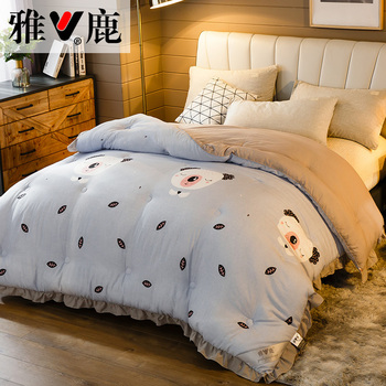 SF Princess Style Romantic Quilted Thin Comforter Bed Cover Double Queen King Size Luxury Lace Summer Quilt Warm Duvet Cover