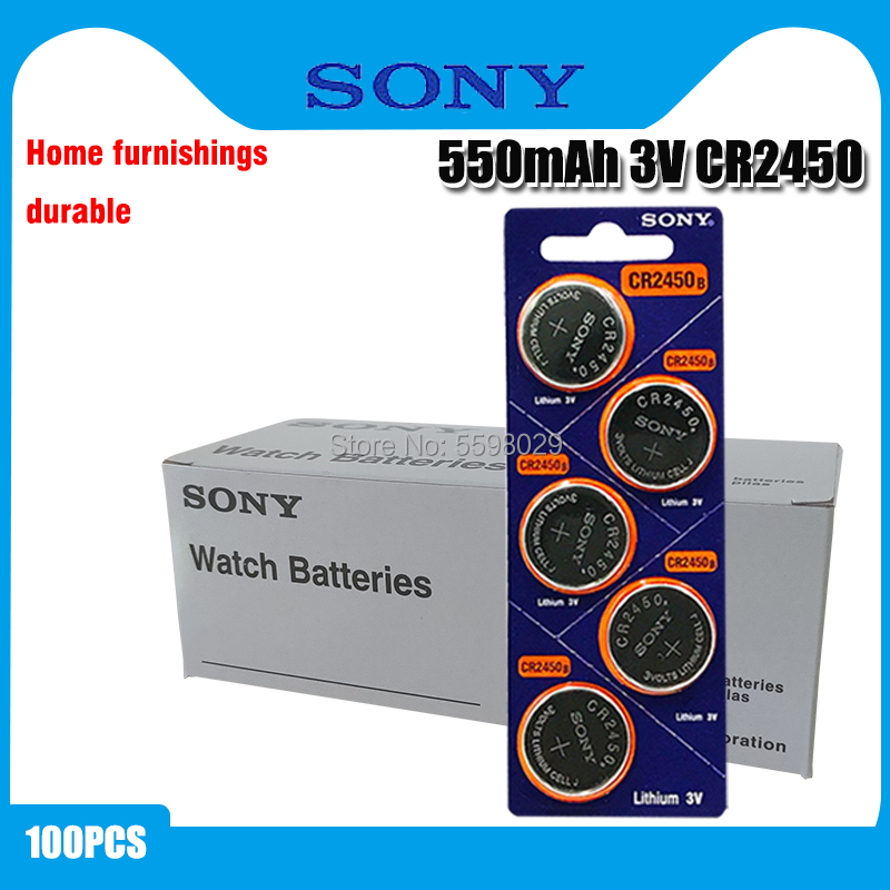 100pcs Original Sony CR2450 Button <font><b>Battery</b></font> 5029LC BR2450 BR2450-1W <font><b>CR2450N</b></font> ECR2450 DL2450 KCR2450 LM2450 For Watch Toy Remote image