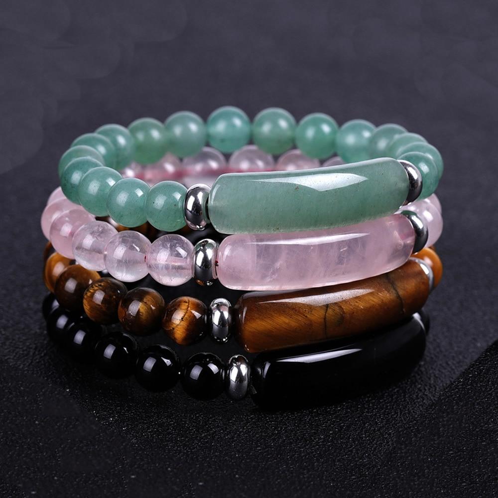 Natural Stone Strand Bracelet 8mm Reiki Healing Pink Quartz Aventurine Agates Rose Crystal Rectangle Bar Charm Beaded Bracelets|Strand Bracelets| - AliExpress