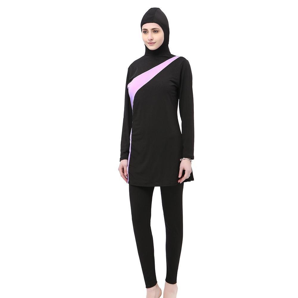 L-5XL Plus Size Muslim Swimwear Women 2018 New Stripes Women Swimming Suit Islamic Swim Wear Beach Islamic Swimsuit Pink Blue