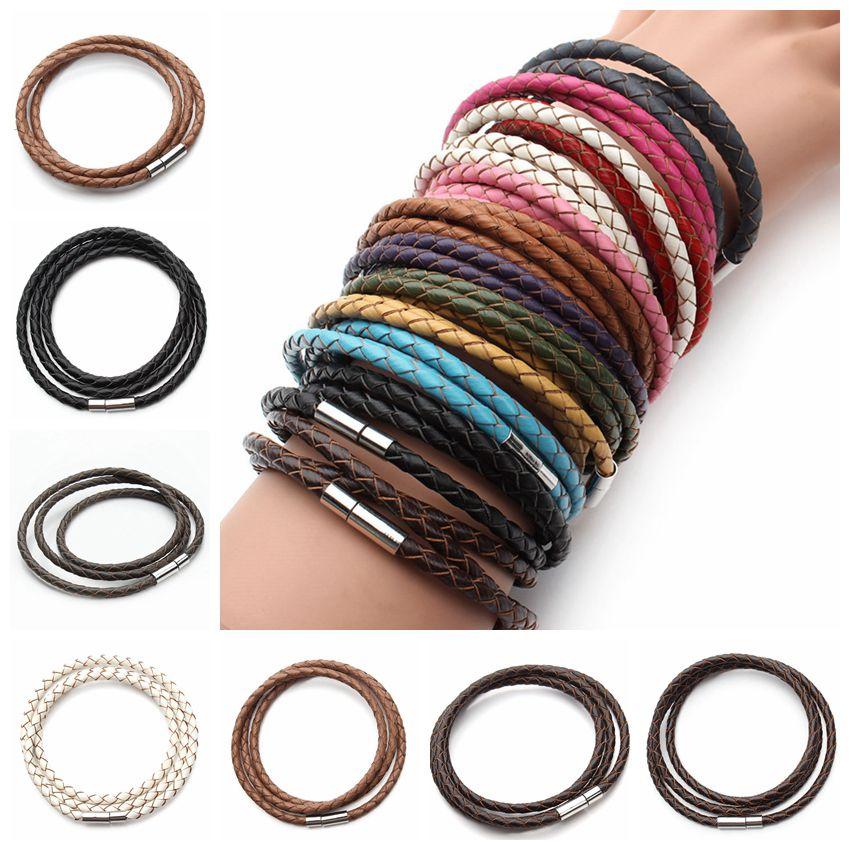 2020 New Fashion 100% Genuine Braided Leather Bracelet Men Women Magnetic Clasps Charm Bracelets Pulseras Male Female Jewelry