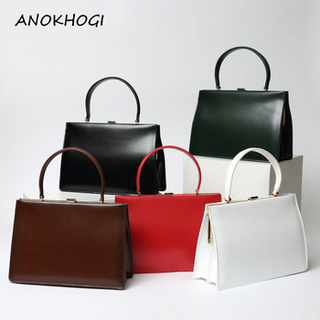 Cow Leather Women Pure Color Tote Handbags High Quality Genuine Leather Vintage Ladies Shoulder Bag Retro Hand Bags B580