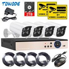 Towode 4CH Dvr Kit 5.0MP Hd Cctv Camera Surveillance 1080P Hdmi Video Security Camera Systeem Uitgang 500G 1 tb 2 Tb