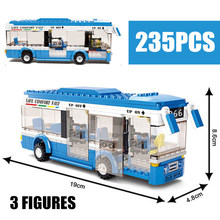 цена на Sluban 0330 Building Blocks City Bus Building Blocks 235+pcs Boys&Girls Enlighten Blocks Educational DIY Bricks Toy For Children