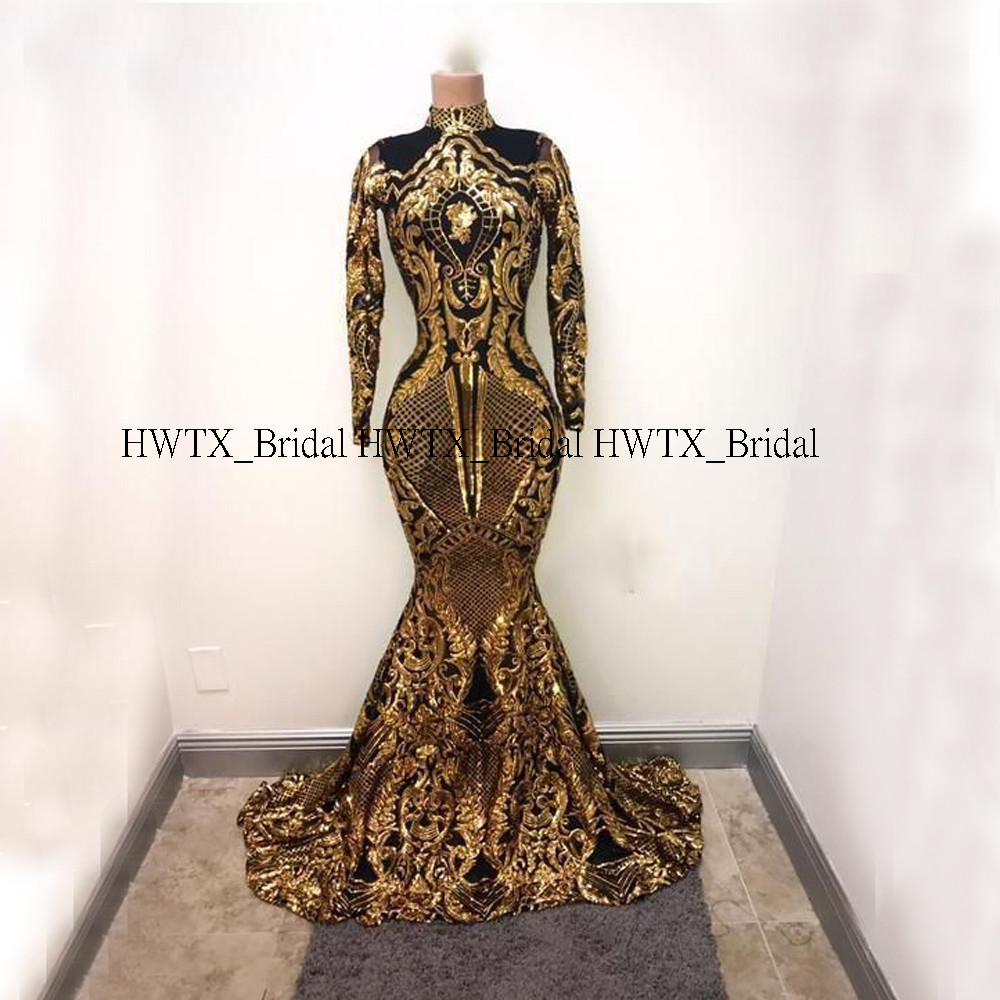 Ouro e preto africano vestidos de baile 2020 mangas compridas alta pescoço sparkly lantejoulas sereia baile baile formal vestido de festa personalizado - 2