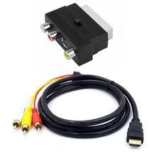 1080P HDMI תואם s video ל 3 RCA Av כבל אודיו עבור מקרן/DVD/טלוויזיה כדי אודיו מחבר Phono עם מתאם 3RCA Scart