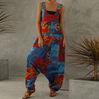 Lato kwiatowy Print Vintage kombinezon na przyjęcie Sexy bez rękawów spodnie szerokie nogawki damskie kombinezony eleganckie z kieszeniami Casual kombinezon jednoczęściowy tanie i dobre opinie ZOUDKY COTTON Linen Pełnej długości Kombinezony i Pajacyki ZJ02108 Bawełniana Pościel WOMEN Na co dzień Drukuj REGULAR