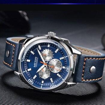 MEGIR 2020 ɫ�級メンズ腕時計レザーストラップ大ダイヤルクォーツ時計レロジオ Masculino Ǚ�光男性時計腕時計