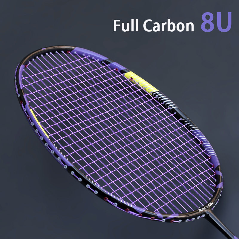 Utralight 8U Carbon Fiber Badminton Rackets Strung Sports Professional 22-30LBS Racquet  With Bag Strings Z Force Padel Raqueta