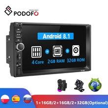 Podofo אנדרואיד 2 דין רכב רדיו RAM 2GB + ROM 32GB אנדרואיד 7 2Din רכב רדיו Autoradio GPS מולטימדיה נגן עבור פורד פולקסווגן גולף