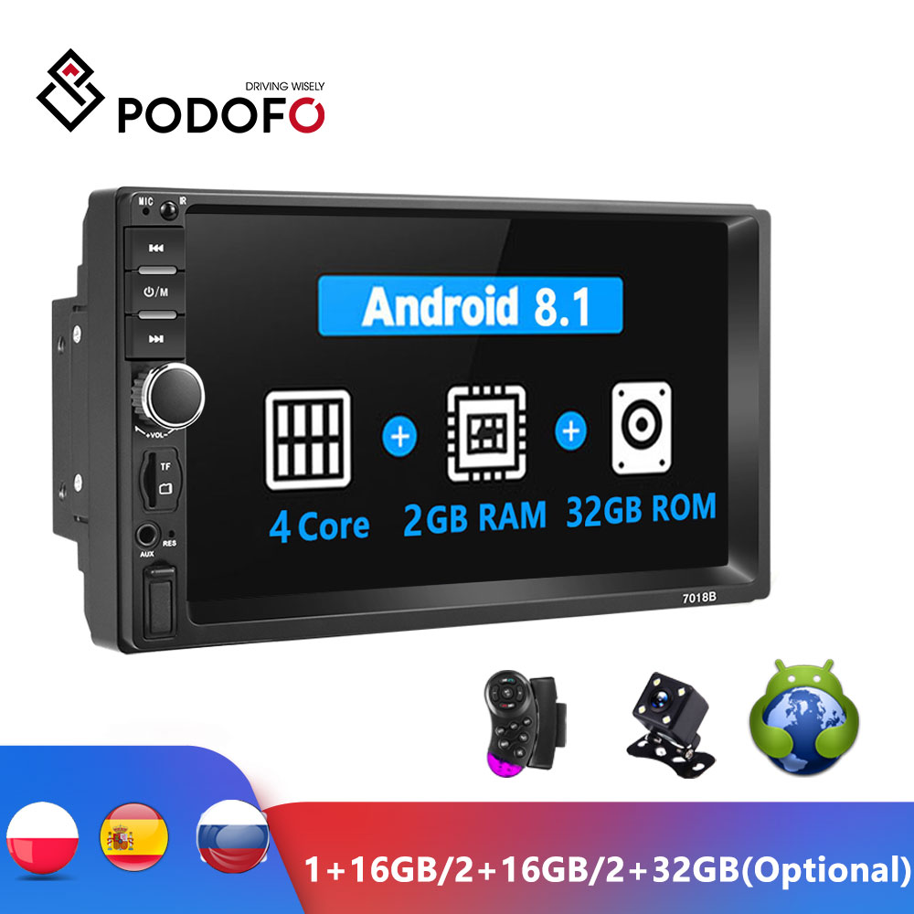 Podofo Android 2 DIN รถวิทยุ RAM 2GB + ROM 32GB Android 7 ''2Din วิทยุรถยนต์ Autoradio GPS มัลติมีเดียสำหรับ Ford VW Golf