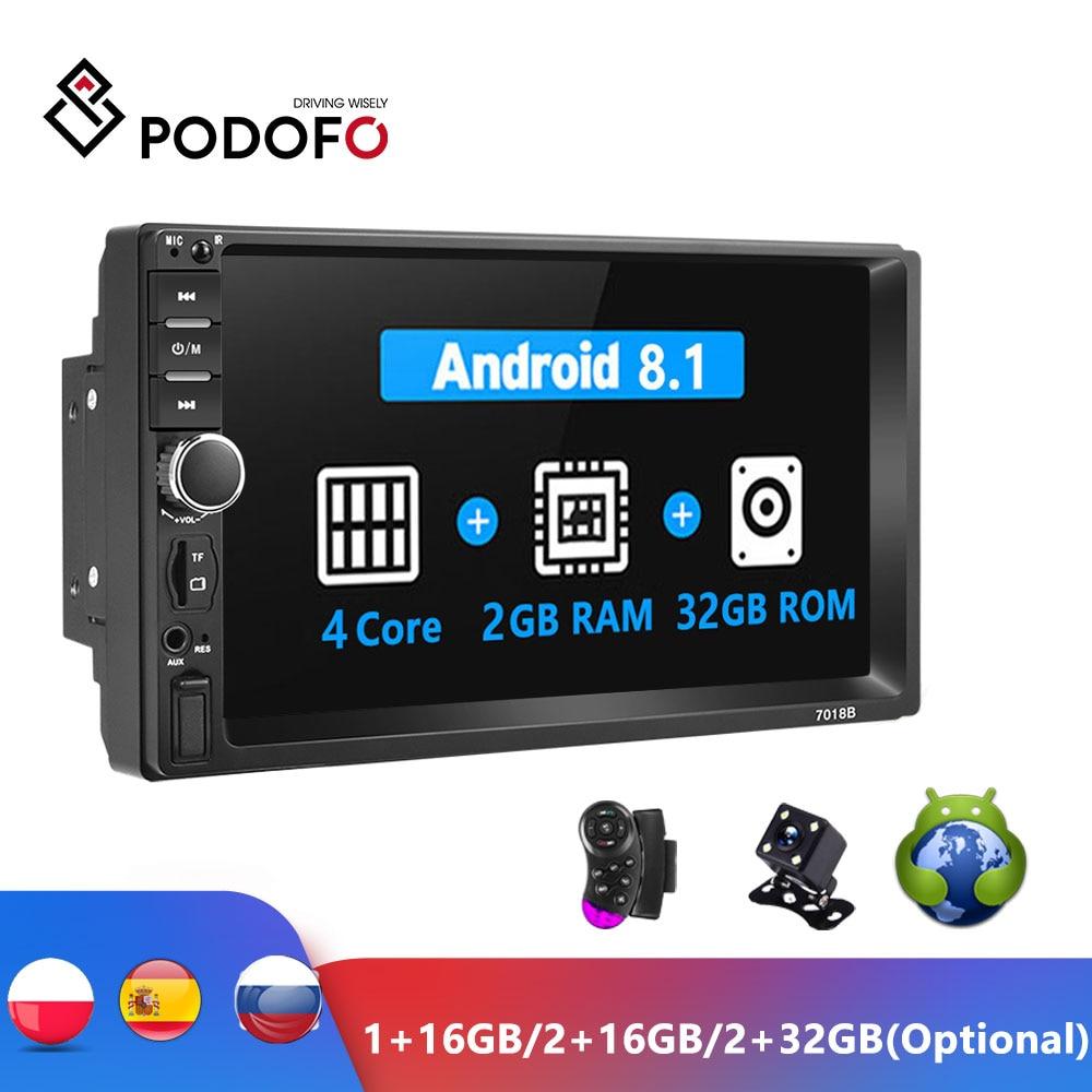 Podofo Android 2 Din автомобильное радио RAM 2 Гб + ROM 32 ГБ Android 7