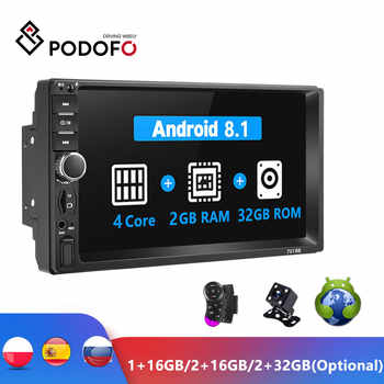 "Podofo Android 2 Din coche Radio RAM 2GB + ROM 32GB Android 7 ""2Din Radio de coche Autoradio GPS reproductor Multimedia para Ford VW Golf"