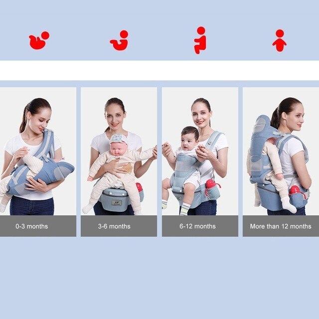 Portabebés ergonómico de 0-48M, 15 VÍAS DE USO, portabebés para bebés, portabebés delantero, ergonómico, canguro, envoltura de viaje para bebés