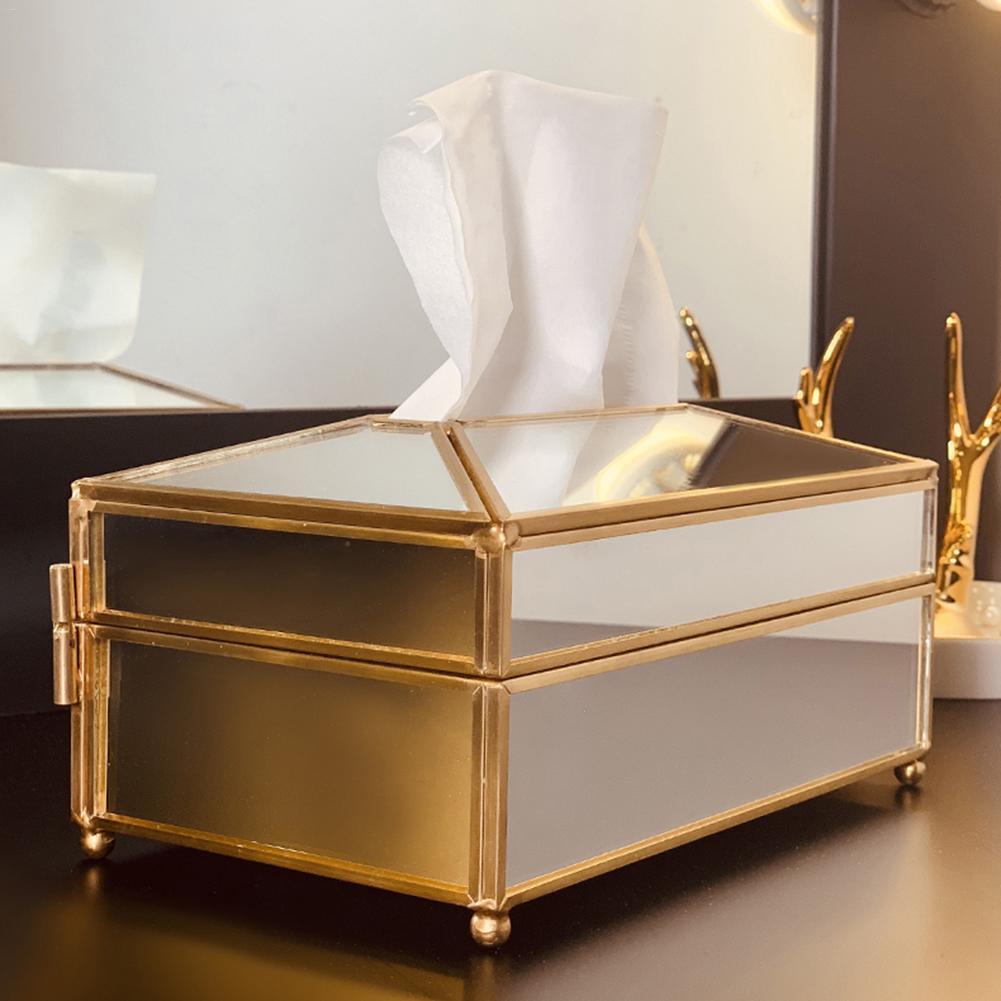 Европейская креативная стеклянная коробка для салфеток простая гостиная Бытовая коробка для салфеток скандинавский роскошный светильник роскошный поднос для салфеток