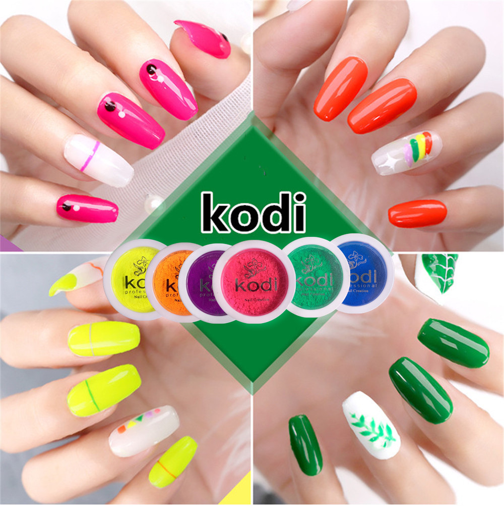 kodi Neon 6 color Pigment Nail Powder professional Nail 3g Glitter Fluorescent color Powder Nail Polish UV Gel Nail Decorati image