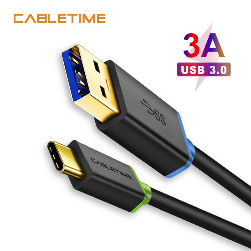 Cabletime USB Type C Cable USB 3.0 Type-C 3.1 Fast Charging Sync Data Cable 3A for Samsung Galaxy S9 Note 8 9 Huawei laptop N039