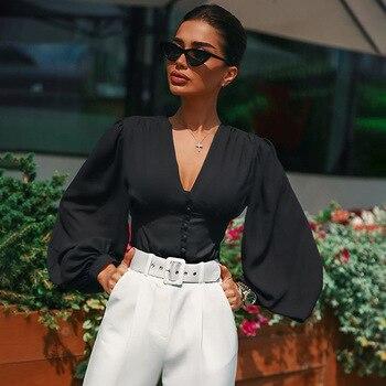 RICORIT Women V-Neck Blouse Shirt Woman Sexy Deep Top Black Button Lantern Long Sleeve Slim Elegant Lady