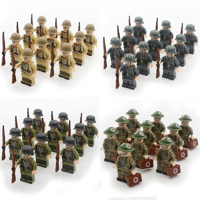 WW2 Military German Army Blocks Japan Chinese Soldier Figure Weapon Parts Accessories MOC Bricks Children Buidling Toys For Boys