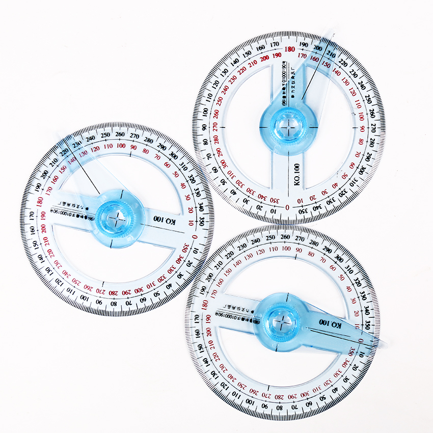 Circular 10cm Transparent Plastic 360 Degree Pointer Protractor Ruler Angle For School Office Drafting Supplies Protractor 1PC