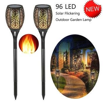 цена 4Pcs 96 LED Solar Flame Lamp Flickering Waterproof Garden Flicker Lights Landscape Lawn Light Torch Outdoor Decoration Spotlight онлайн в 2017 году