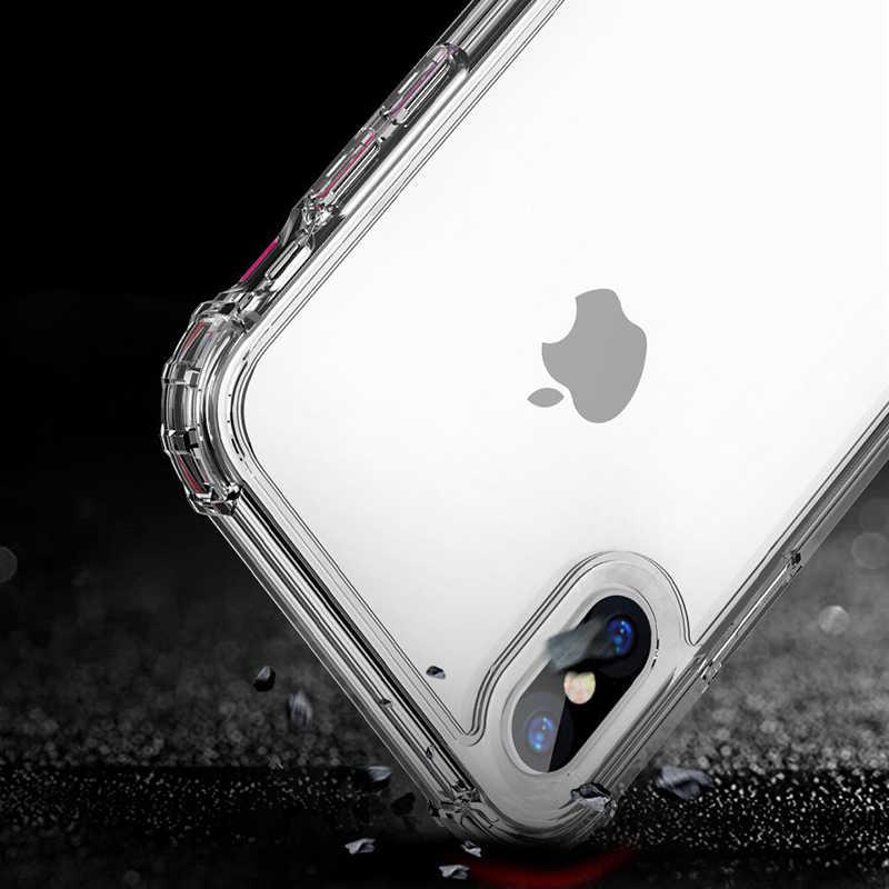 Funda de teléfono de silicona transparente anticaída iPhone11 XS XR XS Max cubierta de teléfono de TPU suave 7 8 6 Plus protección trasera