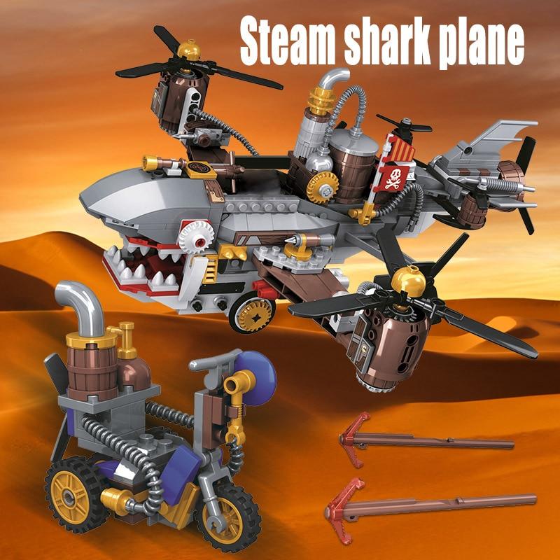 Winner Age Of Steam Series Pirate Shark Airship Building Blocks