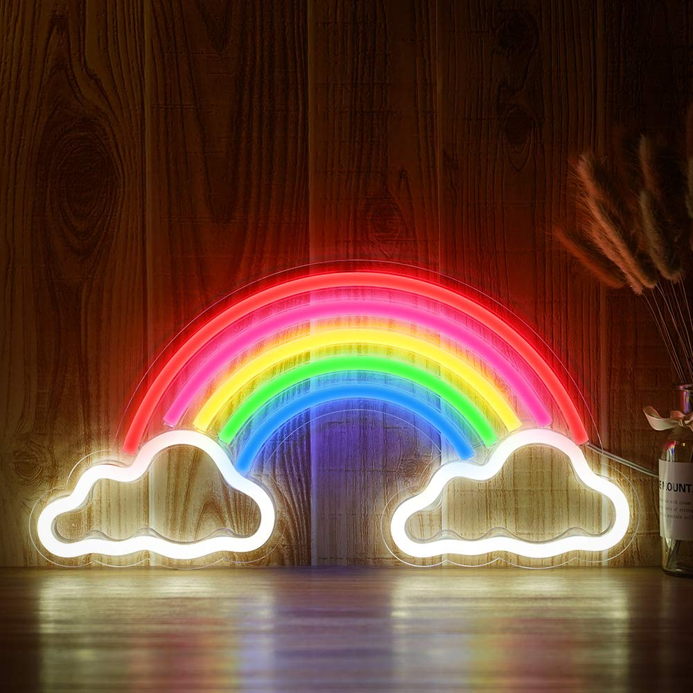 Decorative LED Rainbow Shaped Neon Sign Light Wall Decor Art Neon Sign Home Decoration Bedroom Christmas Valentine 's Day Party